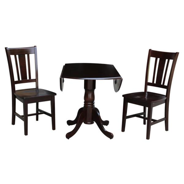 2 chairs solid wood light oak 3pc round pedestal drop leaf kitchen table