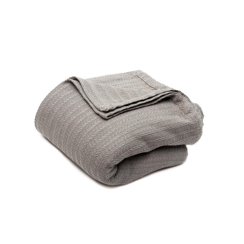 Layla Cotton Full/Queen Throw Blanket in Grey