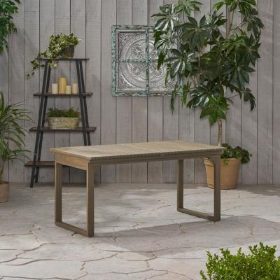 Sorrento Grey Rectangular Expandable Acacia Wood Outdoor Dining Table