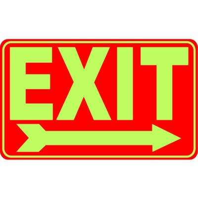 8 in. x 12 in. Exit Right Glow in the Dark Plastic Sign