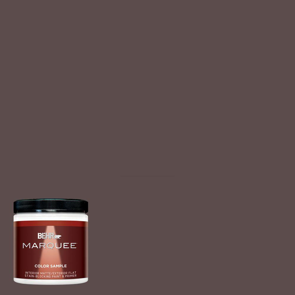 8 oz. #MQ1-43 Piano Brown Matte Interior/Exterior Paint and Primer Sample
