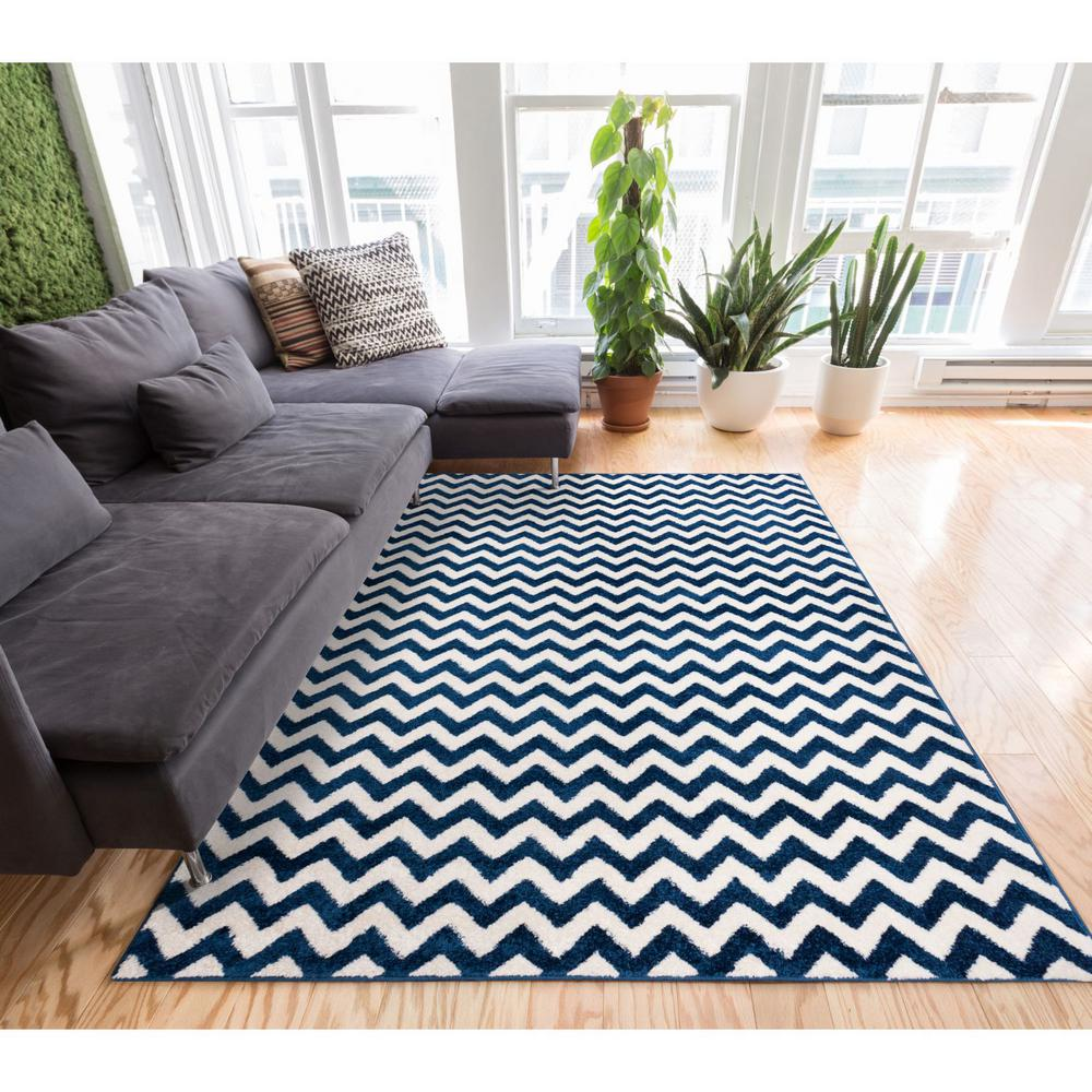Well Woven Sydney Eli Chevron Dark Blue 5 Ft X 7 Modern Area Rug