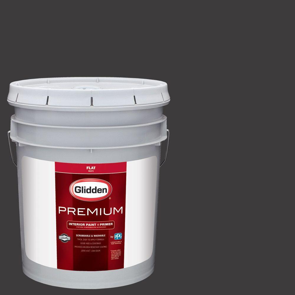 Glidden Premium 5 Gal Hdgcn65d Onyx Black Flat Interior Paint With Primer