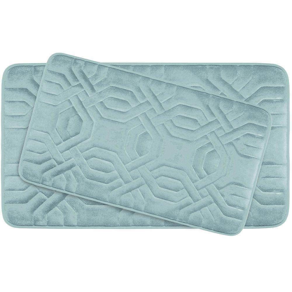 BounceComfort Chain Ring Aqua Memory Foam 2-Piece Bath Mat