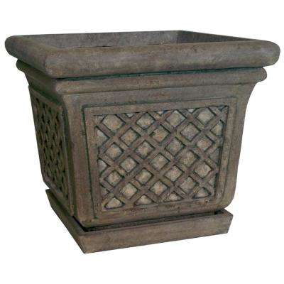 24 in. Dia in Granite Stone Square Lattice Pot