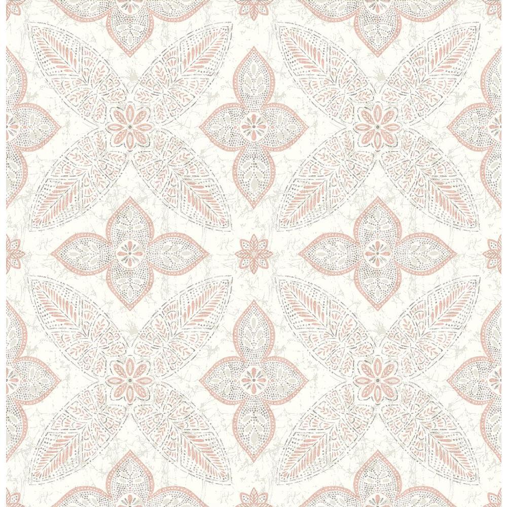 Off Beat Ethnic Grey Geometric Floral Wallpaper Sample