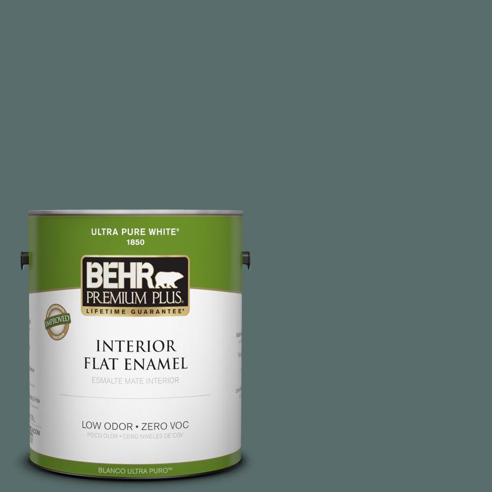 BEHR Premium Plus 1-gal. #490F-6 Agave Frond Zero VOC Flat Enamel Interior Paint-DISCONTINUED