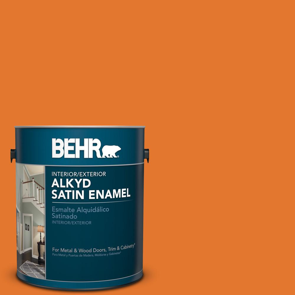 1 gal. #OSHA 3 Safety Orange Satin Enamel Alkyd Interior/Exterior Paint