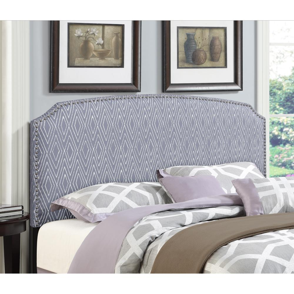 simone grey fullqueen patterned upholstered headboard