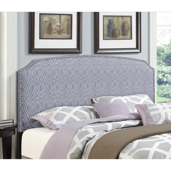 American Woodcrafters Simone Grey Full/Queen Patterned Upholstered Headboard