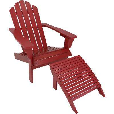 Wood Outdoor Adirondack Chair and Ottoman Set in Red