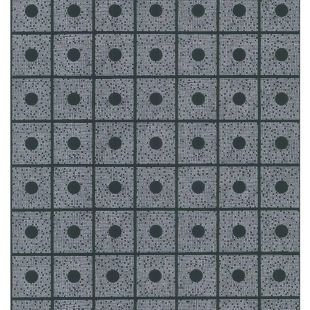 Brewster Bath Bath Bath III Black Domino Wallpaper Sample 149-62155SAM