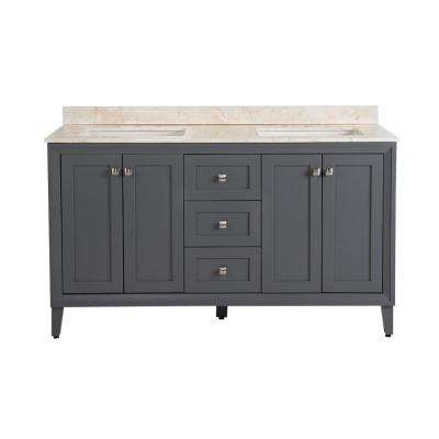 Austell 61 in. W x 38 in. H x 22 in. D Vanity in Graphite Gray with Stone Effects Vanity Top in Dune with White Sink