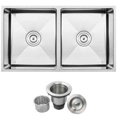 Pacific Undermount 16-Gauge Stainless Steel 31.25 in. 50/50 Double Basin Kitchen Sink with Basket Strainer