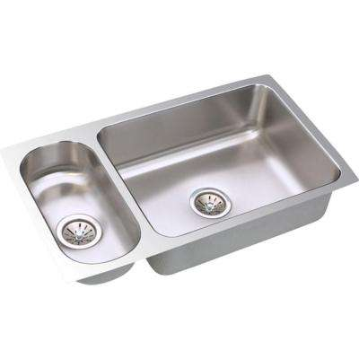 Lustertone Undermount Stainless Steel 32 in. Double Bowl Kitchen Sink