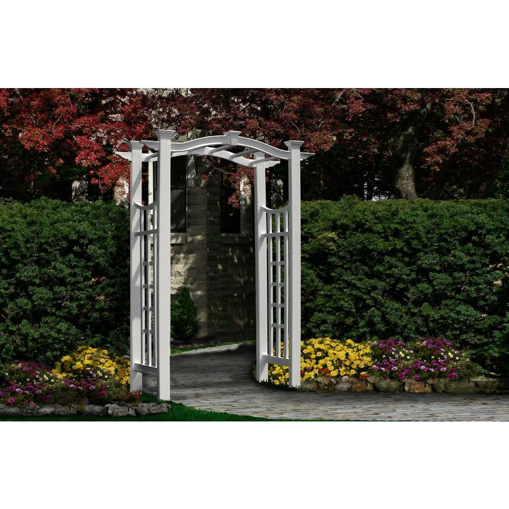New England Arbors Florence 42 in. x 86 in. White Vinyl Arbor