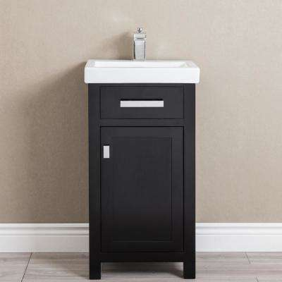 MIA 18 in. W Bath Vanity in Espresso Finish with Ceramics Integrated Vanity Top with White Basin