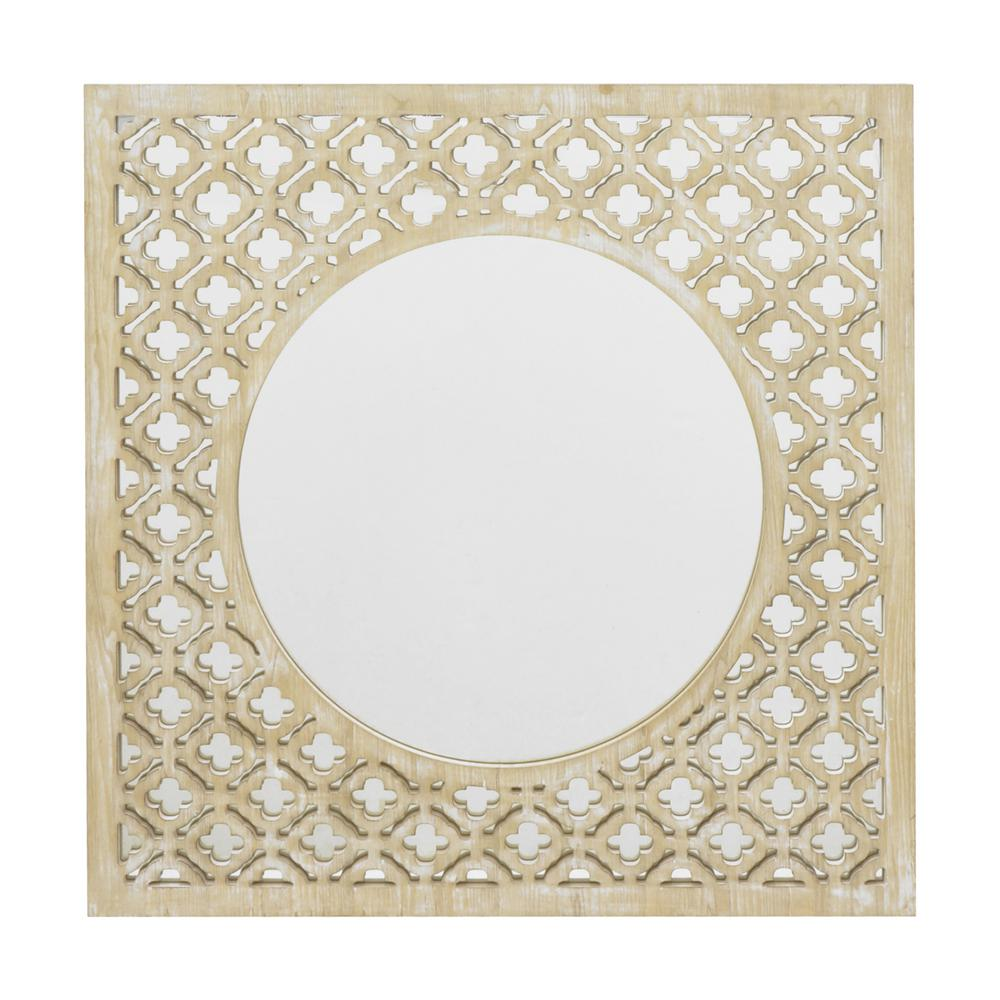 THREE HANDS Wood Decorative Wall Mirror With Lattice Overlay