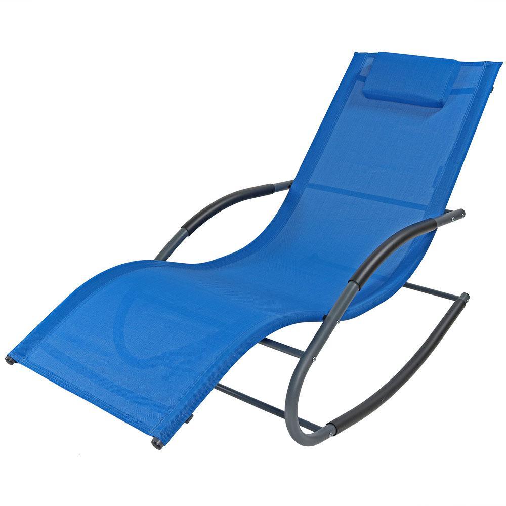Sunnydaze Decor Blue Rocking Wave Sling Outdoor Lounge