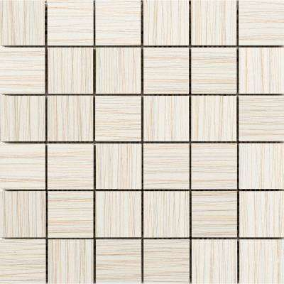 Thread Ivory 11.81 in. x 11.81 in. x 9mm Porcelain Mesh-Mounted Mosaic Tile (0.97 sq. ft.)