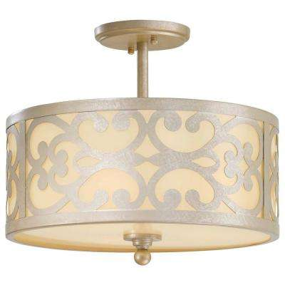 Nanti 3-Light Nanti Champagne Silver Semi-Flush Mount Light