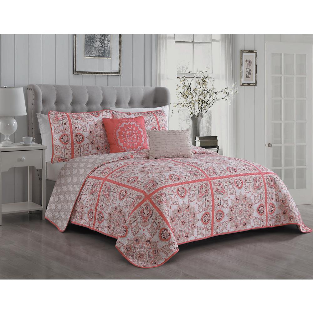 Della 5-Piece Coral Queen Quilt Set