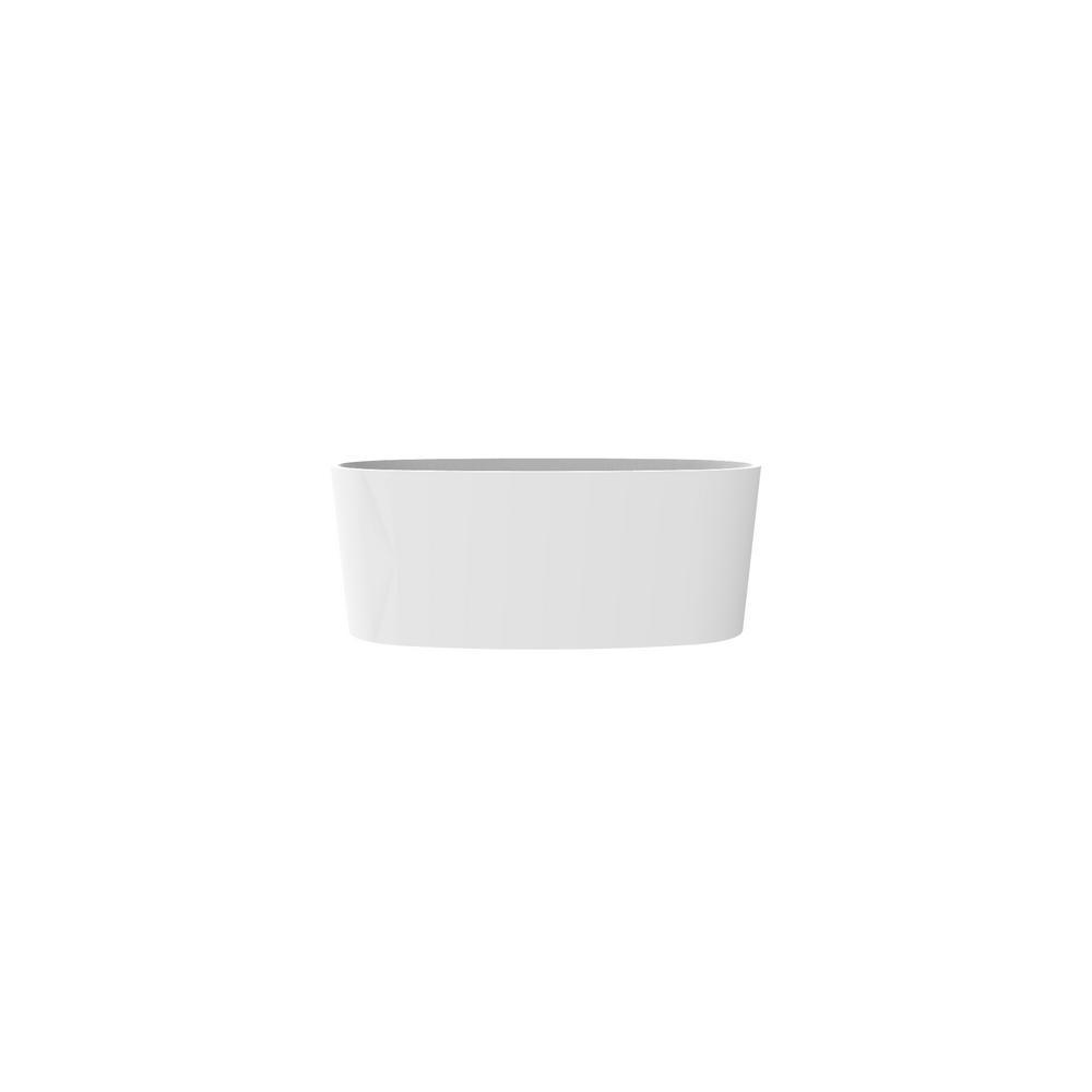 Badeloft USA Badeloft 61 in. Stone Resin Flatbottom Non-Whirlpool Bathtub in Glossy White