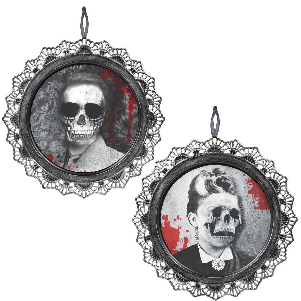 12 in. Gray Halloween Portrait Sign (2-Pack)