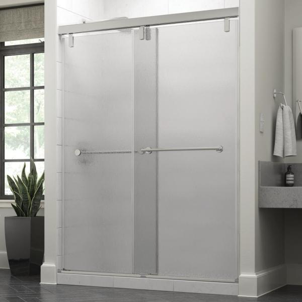 Everly 60 x 71-1/2 in. Frameless Mod Soft-Close Sliding Shower Door in Chrome with 3/8 in. (10mm) Rain Glass