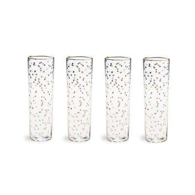 Bubbly Bar Glass Confetti 8 oz. Flutes (Set of 4)