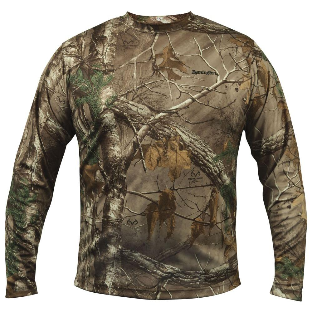 3X-Large Camo Long Sleeve Wicking T-Shirt in Multi-Colored