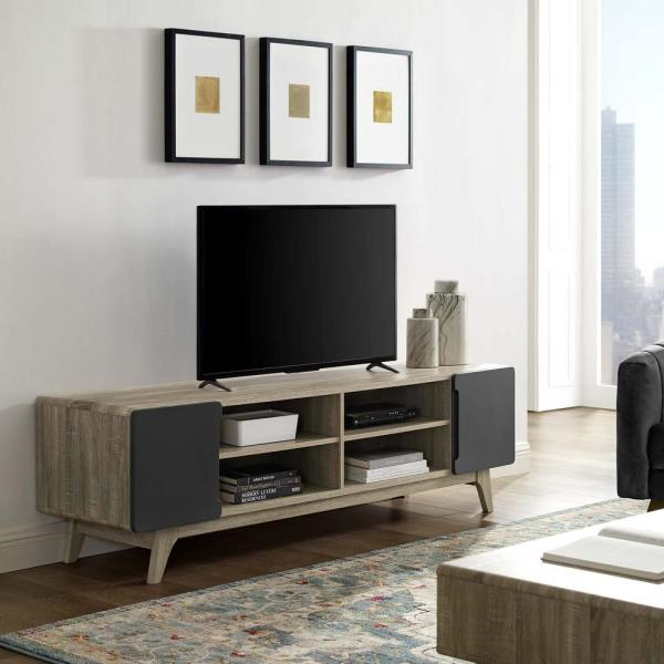 MODWAY Natural Gray Tread 70 in. Media Console TV Stand EEI-3306-NAT-GRY