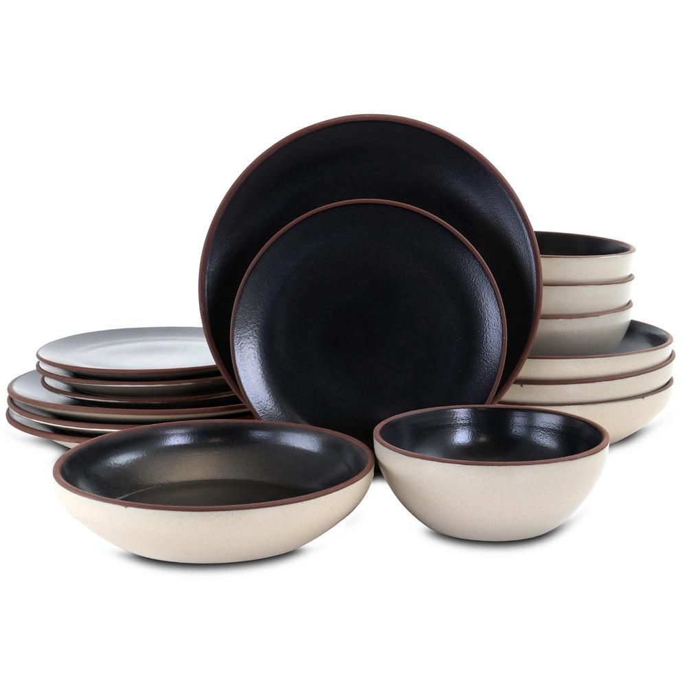 Contempo Classic 16-Piece Casual Black Terra Cotta Dinnerware Set (Service for 4)