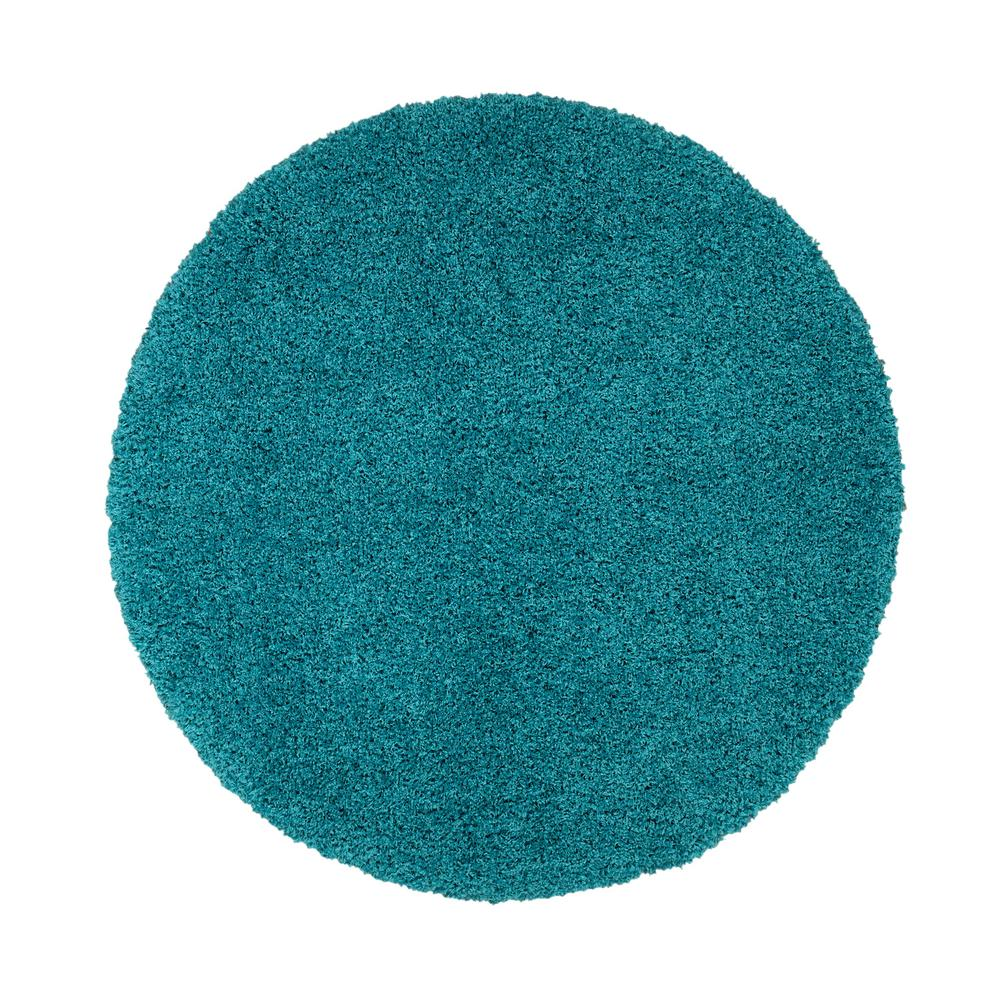 4724186394e862 Ottomanson Shag Collection Turquoise 5 ft. 3 in. Round Shag Area Rug ...