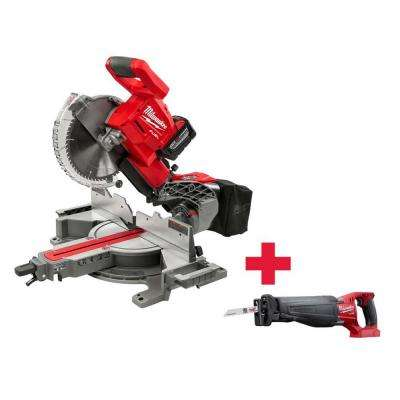 M18 18-Volt FUEL Lithium-Ion Cordless Brushless 10 in. Dual Bevel Sliding Compound Miter Saw Kit with Free FUEL Sawzall