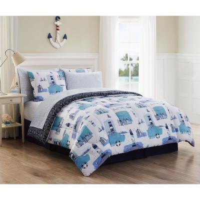 Stone Harbor  8pc Blue Queen Comforter Set with Sheets