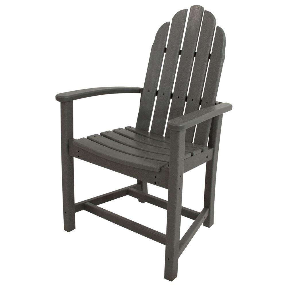 Attrayant POLYWOOD Classic Slate Grey Adirondack All Weather Plastic Outdoor Dining  Chair