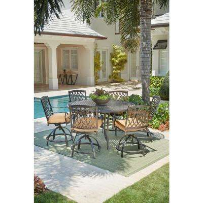 Ridge Falls 7 Piece Aluminum Outdoor High Dining Set With Sunbrella Cork Cushion Swivel Chair