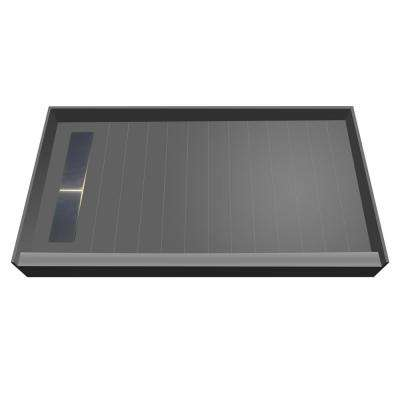 30 in. x 60 in. Single Threshold Shower Base with Left Drain and Solid Brushed Nickel Trench Grate
