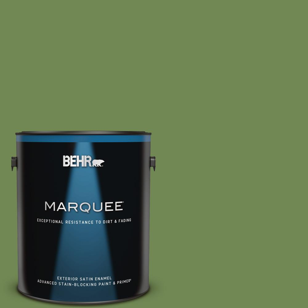 Behr Marquee 1 Gal M370 6 Snip Of Parsley Satin Enamel Exterior Paint And Primer In One 945301 The Home Depot