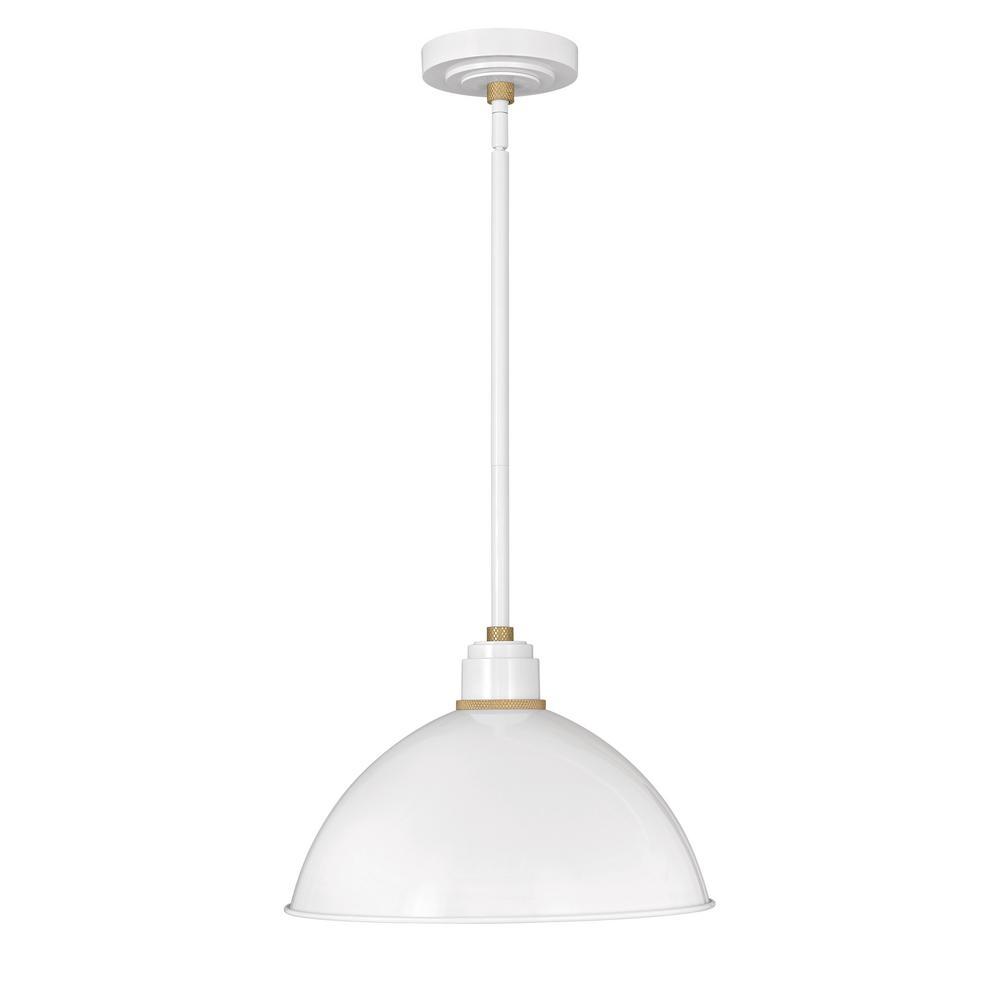 quality design 6ace1 aeb2c Hinkley Lighting Foundry Gloss White 1-Light Outdoor Barn Pendant Light