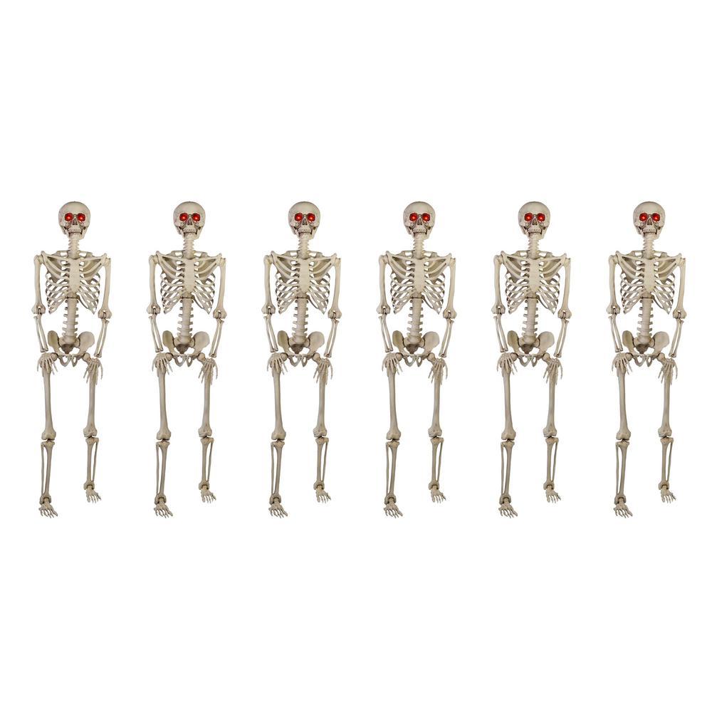5 ft. Poseable Skeleton with LED Illumination (Set of 6)