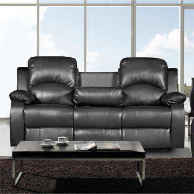 Clarksville Black Leatherette Sofa