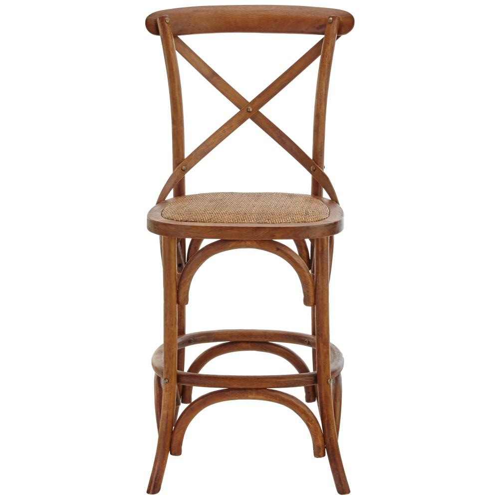 Hyde Cafe 24 In Brown Counter Stool With Back And Cane Seat