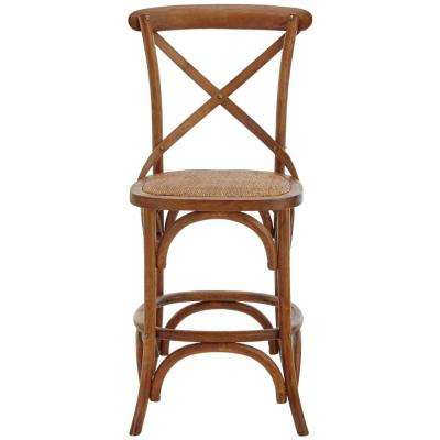 Hyde Cafe 24 in. Brown Counter Stool with Back and Cane Seat