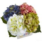 Nearly Natural 9.5 in. Hydrangea in New Baby Ceramic in Assorted Colors