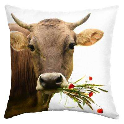 Cow With Bouquet Square Outdoor Throw Pillow