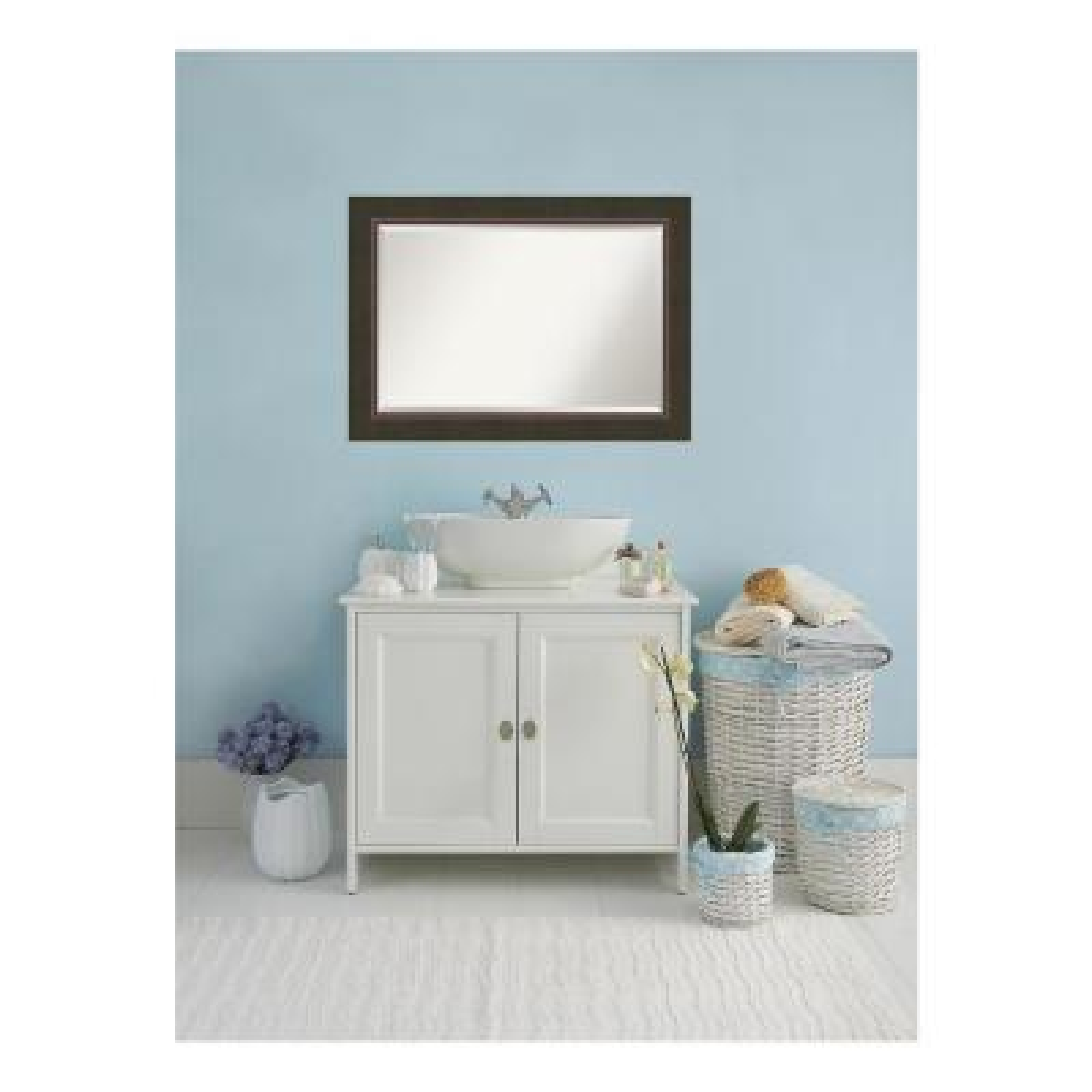 Milano Dark Bronze Wood 43 in. W x 31 in. H Single Contemporary Bathroom Vanity Mirror