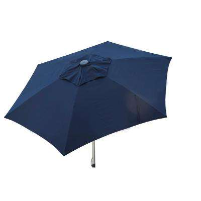 8.5 ft. Aluminum Manual Push-Up Tilt Patio Umbrella in Navy Polyester