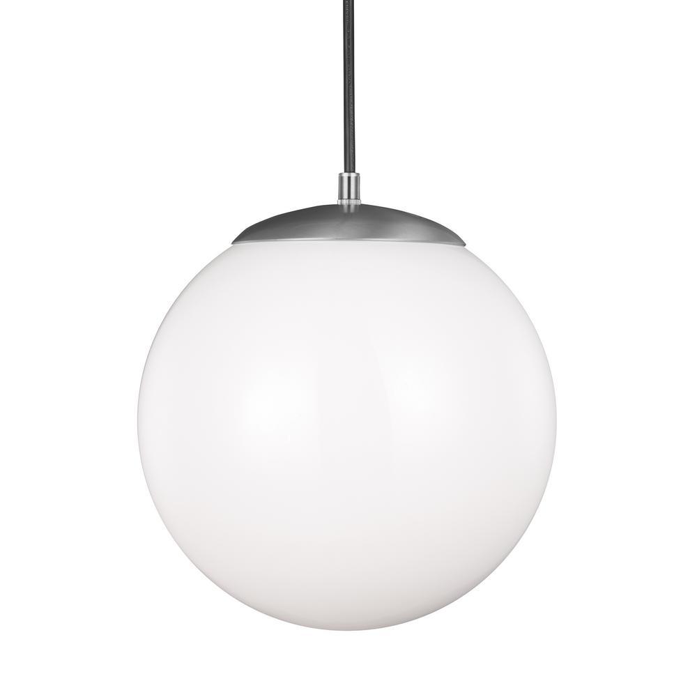 Sea Gull Lighting Hanging Globe 1-Light Satin Aluminum Pendant with ...